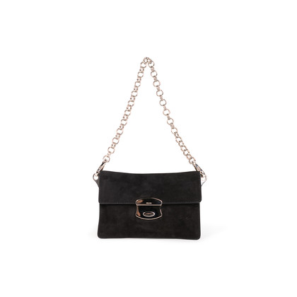 Authentic Second Hand Prada Suede Chain Link Flap Bag (PSS-393-00182)
