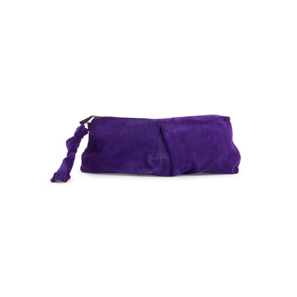 Authentic Second Hand Sergio Rossi Purple Suede Clutch (PSS-B35-00002)