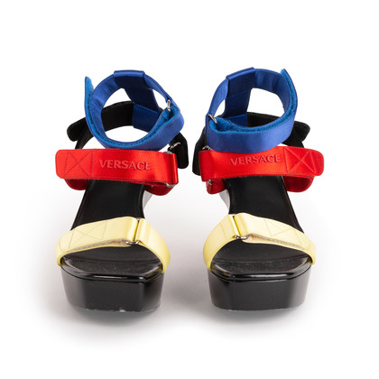 Authentic Second Hand Versace Vecro Strap Platform Sandals (PSS-A62-00018)