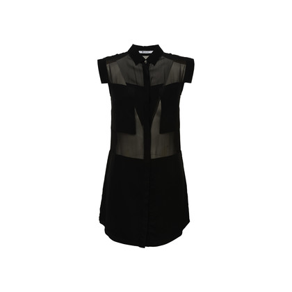 Authentic Second Hand T by Alexander Wang Sheer Panel Shirt Dress (PSS-378-00015)