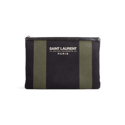 Authentic Second Hand Saint Laurent Stripe Canvas Zip Clutch (PSS-599-00034)