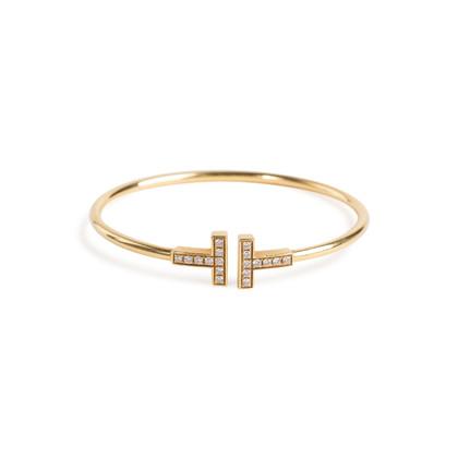 Authentic Second Hand Tiffany & Co T Diamond Wire Bracelet (PSS-094-00037)