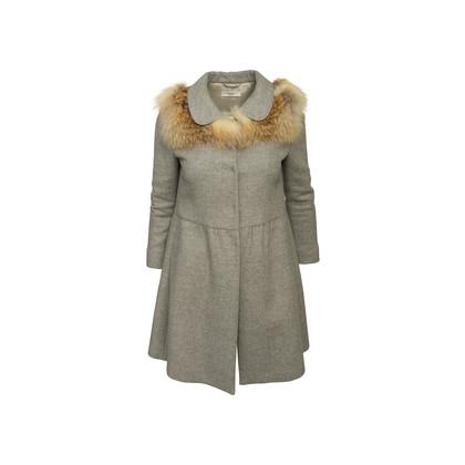 Authentic Second Hand Prada Grey Wool Empire Dress Coat (PSS-B70-00004)