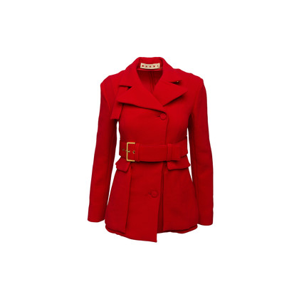 Authentic Second Hand Marni Red Wool Blazer Jacket (PSS-A44-00041)