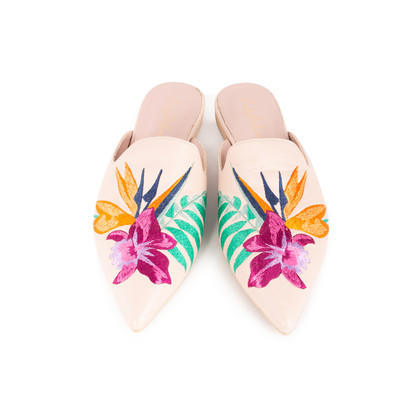 Authentic Second Hand Pretty Ballerinas Ella Embroidered Mules (PSS-238-00110)