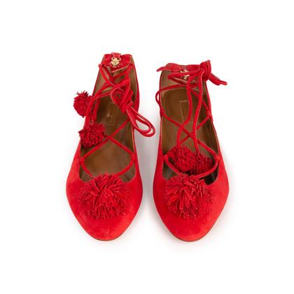 Authentic Second Hand Aquazzura Red Suede Tassel Ballet Flats (PSS-B98-00025)