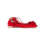 Authentic Second Hand Aquazzura Red Suede Tassel Ballet Flats (PSS-B98-00025) - Thumbnail 1