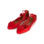 Authentic Second Hand Aquazzura Red Suede Tassel Ballet Flats (PSS-B98-00025) - Thumbnail 3
