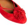 Authentic Second Hand Aquazzura Red Suede Tassel Ballet Flats (PSS-B98-00025) - Thumbnail 7