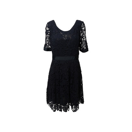 Authentic Second Hand Collette By Collette Dinnigan Navy Cotton Lace Dress (PSS-B98-00067)