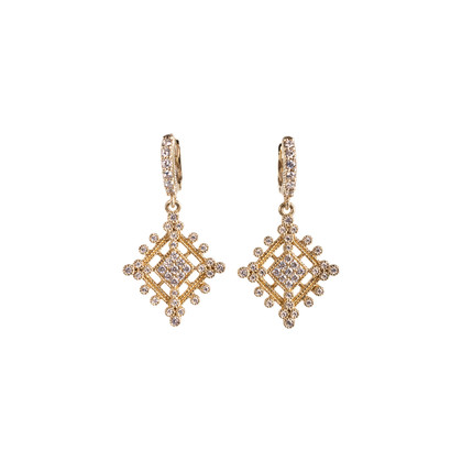Authentic Second Hand Judith Ripka Gold Rhombus Zirconia Earrings (PSS-634-00046)