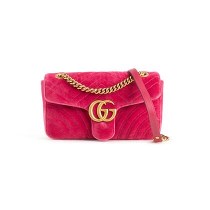 Authentic Second Hand Gucci Marmont Velvet Shoulder Bag (PSS-A92-00005)