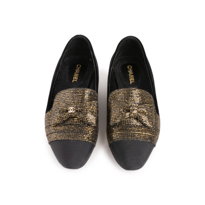 Authentic Second Hand Chanel Velvet Bow Grosgrain Loafers (PSS-C53-00002)