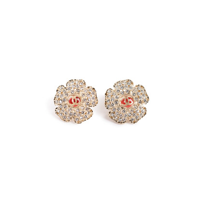 Authentic Second Hand Chanel Logo Flower Crystal Earrings (PSS-328-00071)