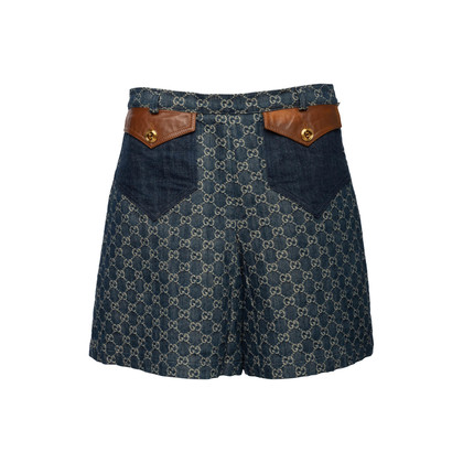 Authentic Second Hand Gucci Logo Jacquard Organic Washed Denim Shorts (PSS-328-00073)