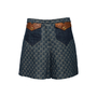 Authentic Second Hand Gucci Logo Jacquard Organic Washed Denim Shorts (PSS-328-00073) - Thumbnail 0