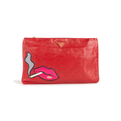Authentic Second Hand Prada Cigarette and Lips Oversize Clutch Bag (PSS-C51-00001)